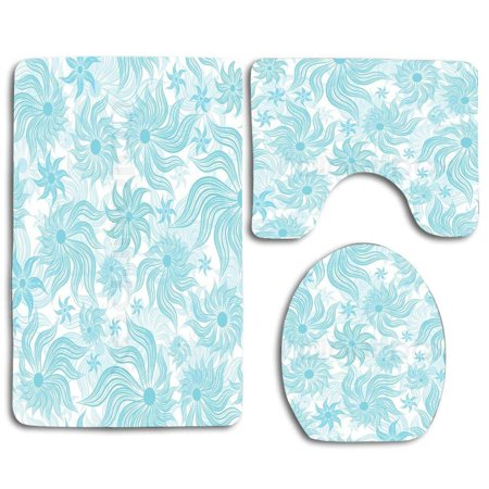Pudmad Vintage Blue Floral 3 Piece Bathroom Rugs Set Bath