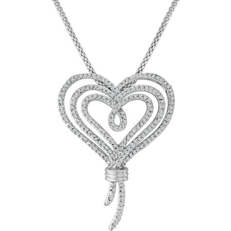 Knots of Love Sterling Silver 1/2 Carat T.W. Diamond Heart Pendant, 18