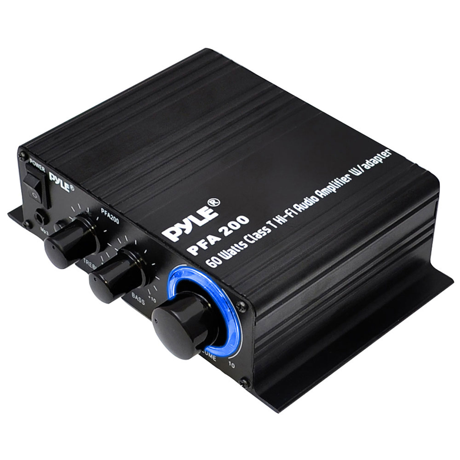 Pyle Home Mini Audio Amplifier - 60W Portable Dual Channel Surround Sound HiFi Stereo Receiver w/ 12V AC Adapter, AUX, MIC IN, Supports Smart Phone, iPhone, iPod, MP3 For 2-8ohm Speakers - Pyle PFA200