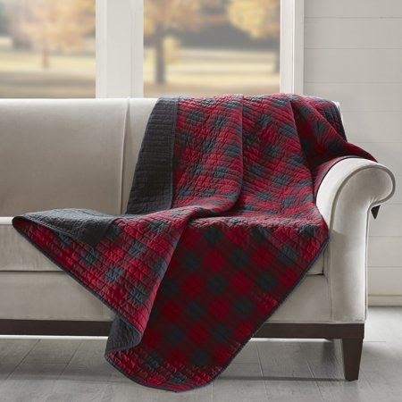 woolrich  check red cotton thread count printed quilted throw ()