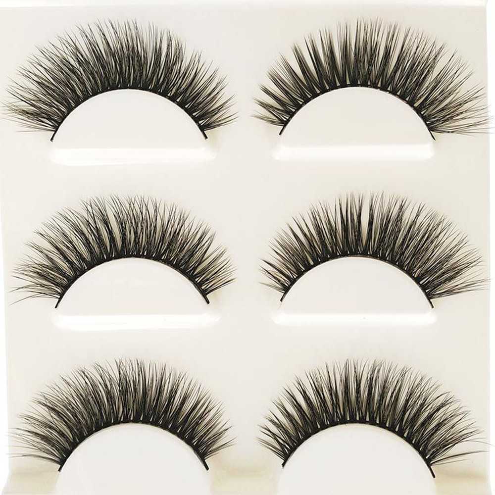Makeup 3D Natural Long Fake Eye Lashes Handmade Thick False Eyelashes Black