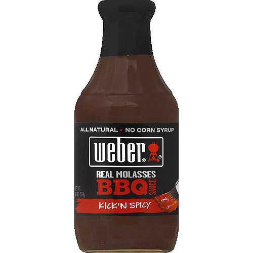 Weber Kick'n Spicy Real Molasses BBQ Sauce, 18 oz, (Pack of 6)