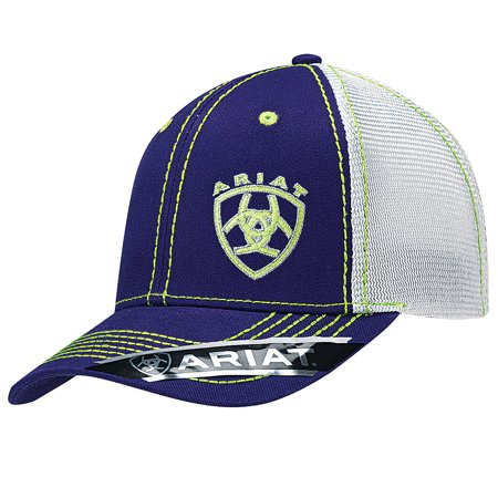M F WESTERN - ARIAT WESTERN WOMENS HAT MESH BACK BASEBALL CAP W  SHIELD  LOGO OFFSET PURPLE - Walmart.com 7652488e80e