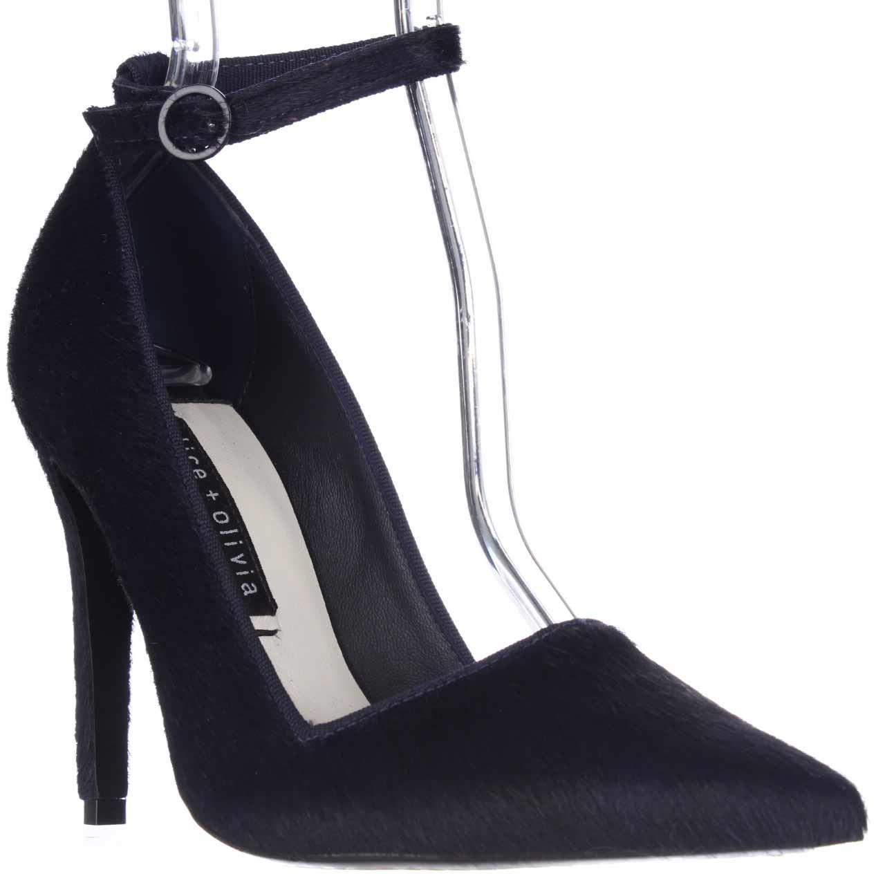 Womens Alice and Olivia Makayla Pointed Toe Ankle Strap Heels, Navy, 8.5 US / 38.5 EU