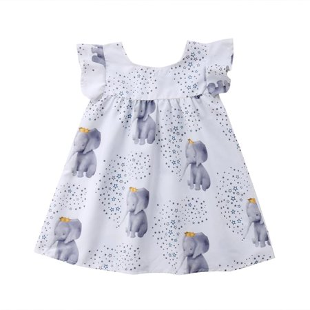 Baby Girls Casual Elephant Stars Mini Dress One Piece for Summer - Casual Dresses For Girl