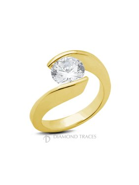 0.46ct J-SI1 Ideal Round Cert Diamond 14k Gold Twist Band Solitaire Ring 1.3mm