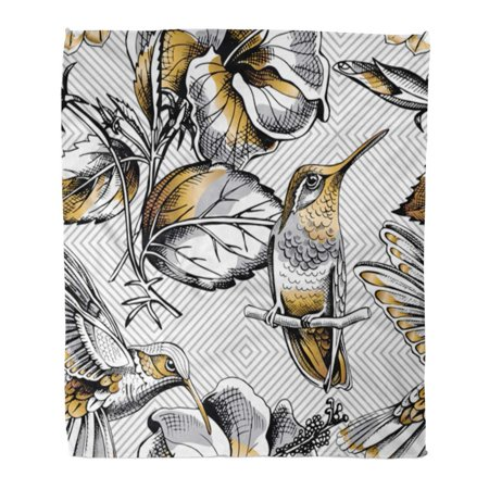 ASHLEIGH Throw Blanket Warm Cozy Print Flannel Silver Pattern Gold Hummingbird and Hibiscus Flowers on Gray Geometric Floral Comfortable Soft for Bed Sofa and Couch 58x80 Inches