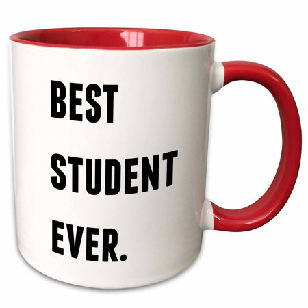 3dRose Best Student Ever, Black Letters On A White Background - Two Tone Red Mug,