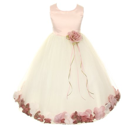 Flower Girl Dress Satin Top (Kids Dream Little Girls Ivory Rose Satin Top Petal Flower Girl Dress 2T-6)