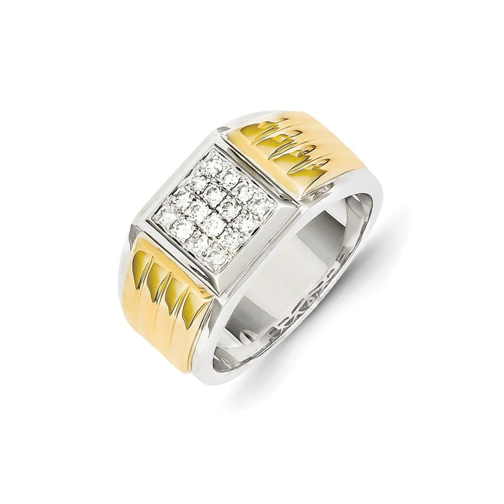 14K Yellow & White Gold Diamond Square Men's Ring. Carat Wt- 0.4ct