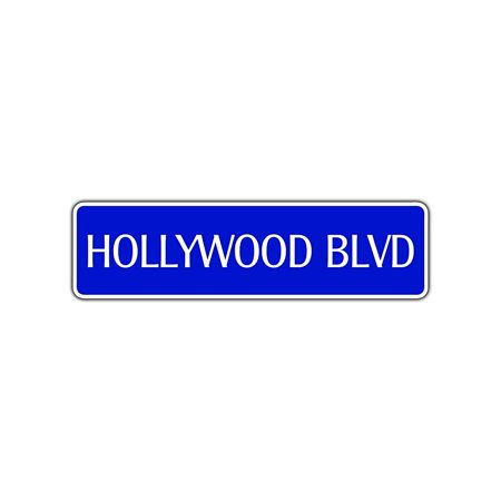 Hollywood Blvd Street Sign California Boulevard Gift CA Tinseltown Movies Decor 4x13.5 - Hollywood Decor