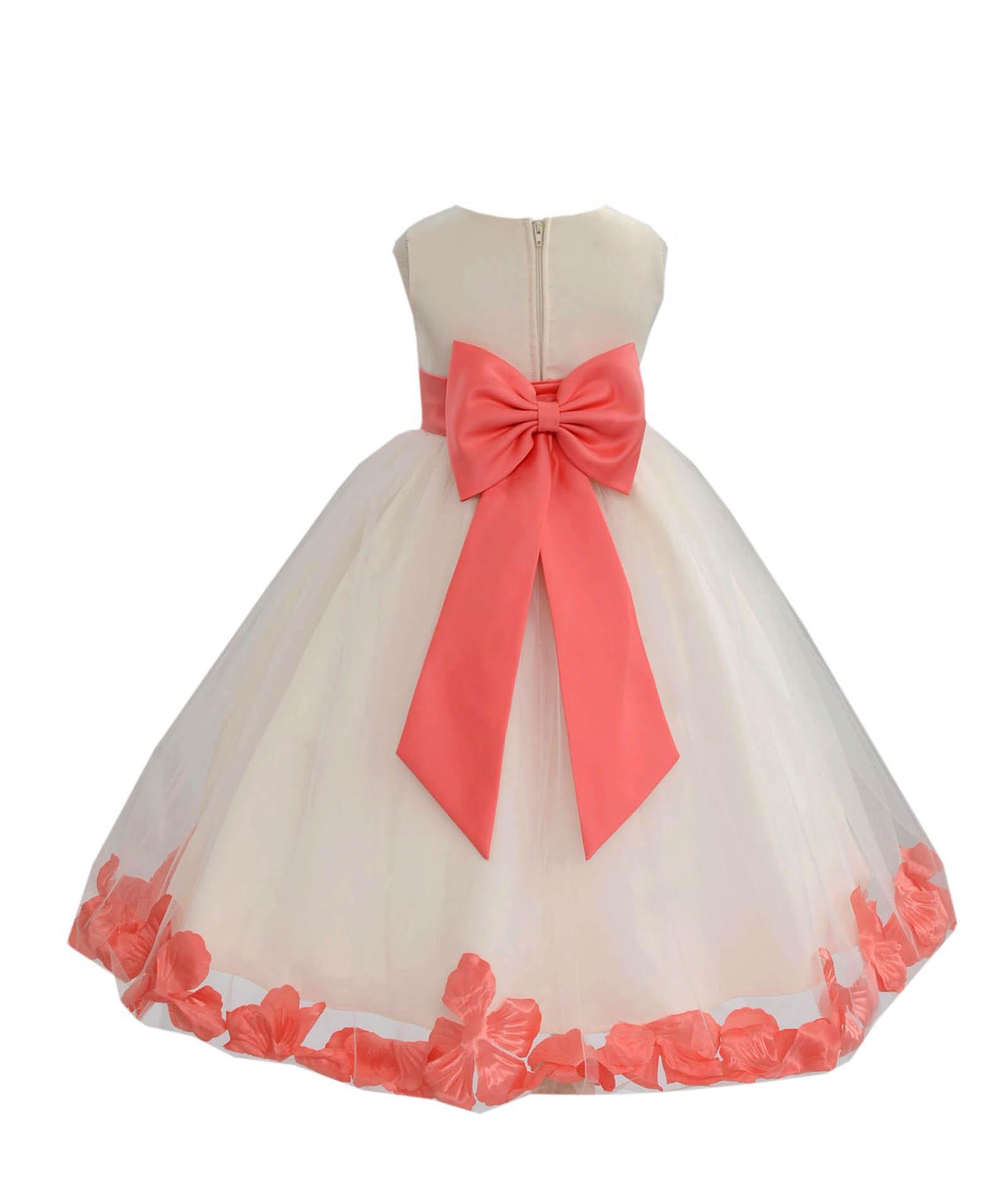 Rose Petals Ivory Tulle Junior Flower Girl Dress Formal Recital Dresses 302T S