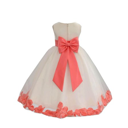 Ekidsbridal Wedding Pageant Rose Petals Ivory Tulle Junior Bridesmaid Toddler Dress Summer Easter Dress First Communion Clothing Holiday Recital Dress Princess Formal Occasions 302T Flower Girl - First Communion Flower Girl Dresses