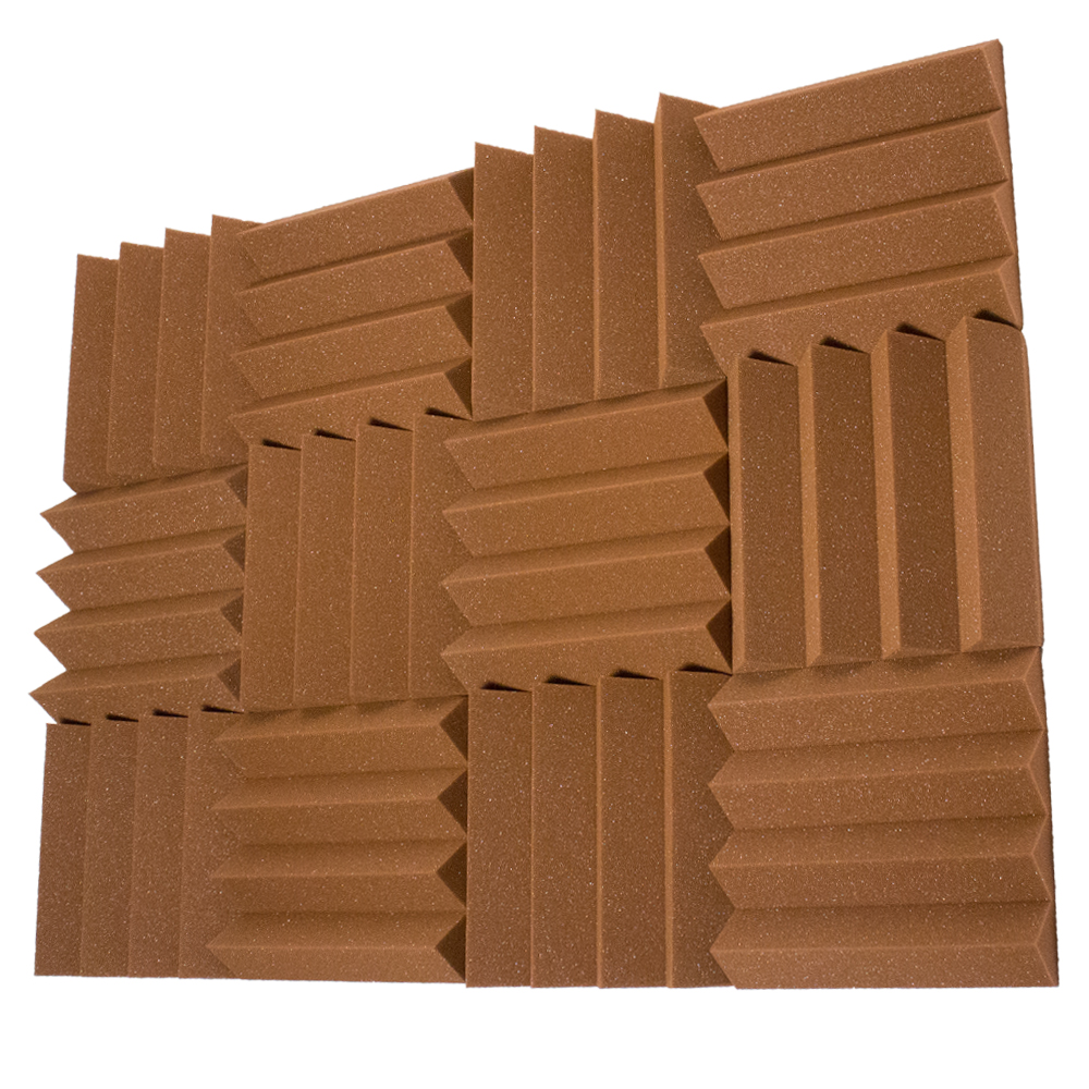 Seismic Audio 12 Pack of Brown 3 Inch Studio Acoustic Foam Sheets - Sound Dampening Tiles - SA-FMDM3-Brown-12Pack