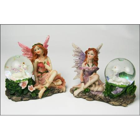Fairy Garden Set - 2 Fairies with Unicorns in Snow (Unicorn Snow)