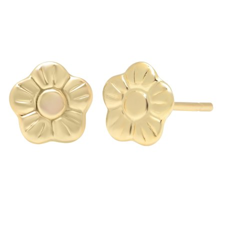 Jewelers 14K Solid Gold Floral Stud Earrings BOXED