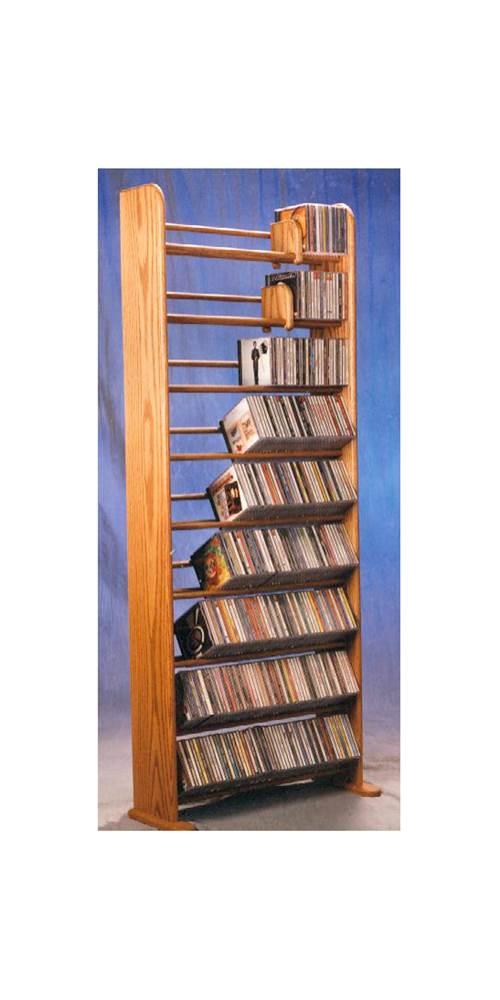 9 Row Dowel CD Rack (Honey Oak) by Wood Shed