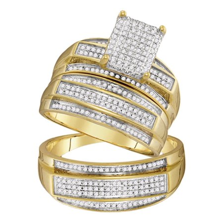 10kt Yellow Gold His & Hers Round Diamond Rectangle Cluster Matching Bridal Wedding Ring Band Set 3/4 -