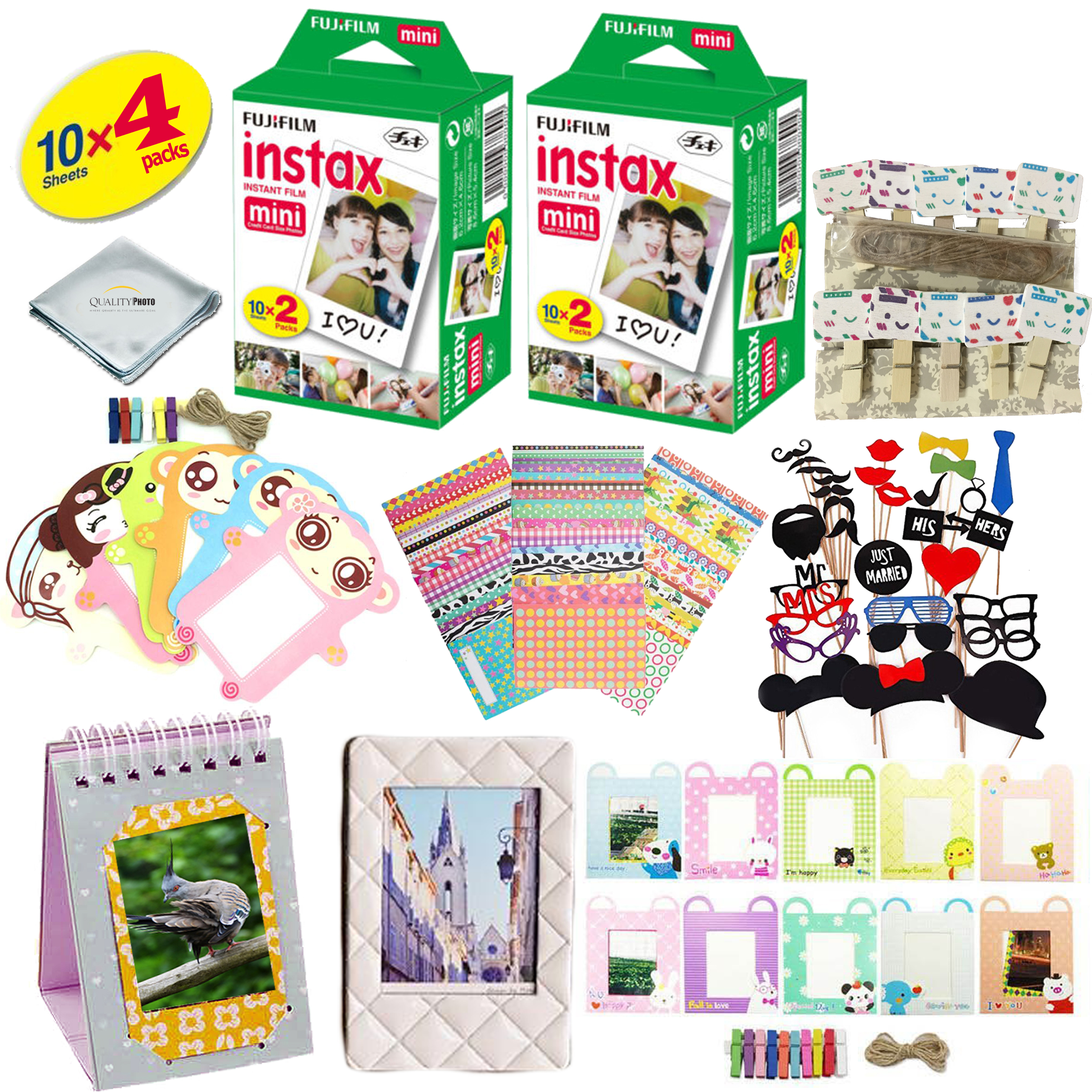 Fujifilm Instax Mini 9 & Mini 8 Camera Accessory KIT Includes - Fuji Instant Film 40 SHEETS +  Over 60 PCS Premium Bundle For Fujifilm Instax Mini 8 & Mini 9 Films