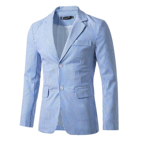 Unique Bargains Men's Stripes Notched Lapel Single Breasted Slim Fit (Cotton Single Breasted Blazer)