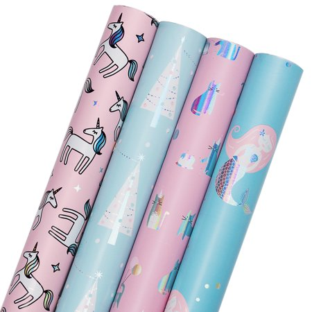 LaRibbons Gift Wrapping Paper - Mermaid, Unicorn, Cat & Tree Collection 4 Rolls - 30