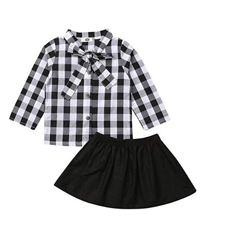 Toddler Kids Baby Girls Plaid ShirtTop Blouse+Black Skirt Dress 2pcs Outfits Clothes Set