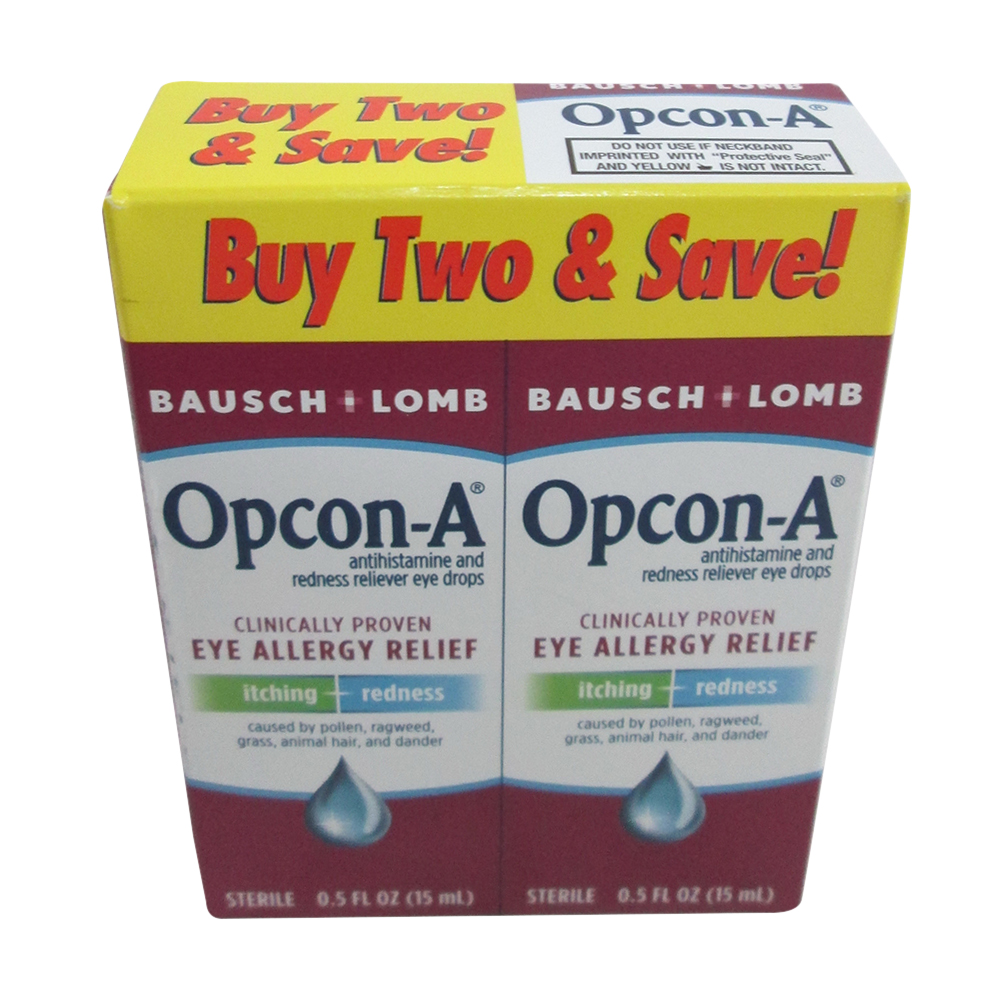 Opcon-A Eye Allergy Relief Drops, Twin Pack - 15 Ml, 6 Pack