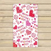 GCKG Lovely Hearts HAPPY VALENTINES DAY Hand Towel,Spa Towel,Beach Bath Towels,Bathroom Body Shower Towel Bath Wrap Size 13x13 inches