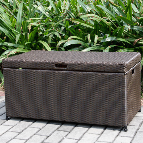 Jeco Inc. Outdoor 70 Gallon Wicker Deck Storage Box
