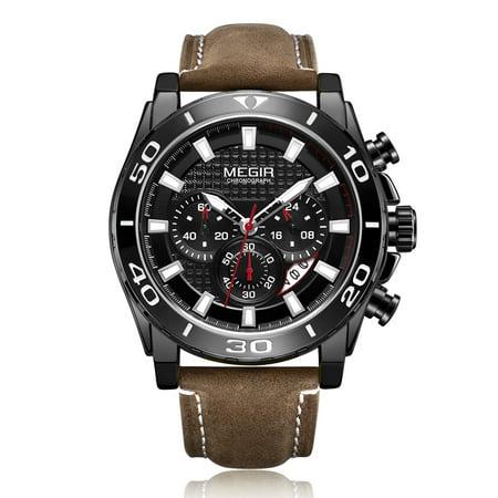 Relógio cronógrafo clássico para homem Megir modelo ML2094G