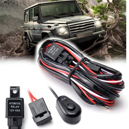 40a Cable - Car Auto Driving Fog light Wiring Harness Kit 8.2FT LED Work Light Bar Cable 40A 12V With On/off Switch