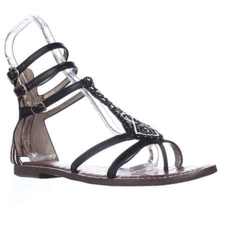 66e23f1ed Sam Edelman - Womens Sam Edelman Giselle Gladiator Embellished Sandals -  Black Leather - Walmart.com