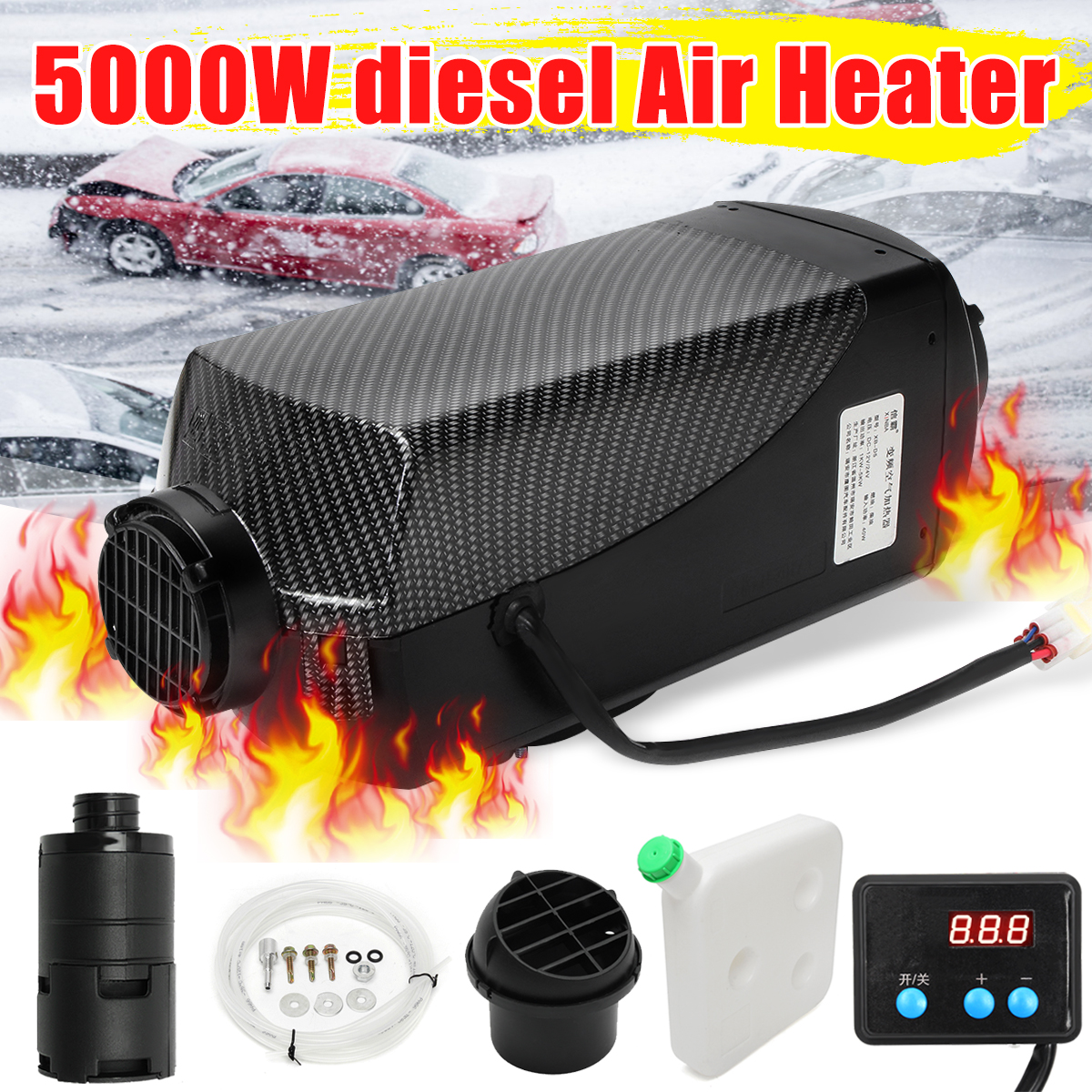 5KW 24V Car Heater Air Diesel Heater Car Warmer Heating Machine with Digital Display For heater Trailer Motorhome Truck Boat Bus