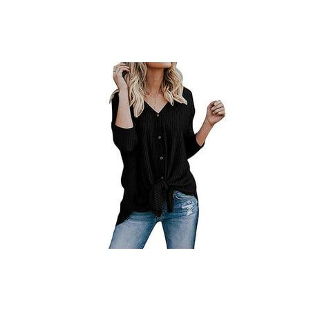 0940f30b4b87b5 FRESHLOOK - Womens Waffle Knit Tunic Blouse Tie Knot Tops Loose Fitting  Plain Shirts - Walmart.com