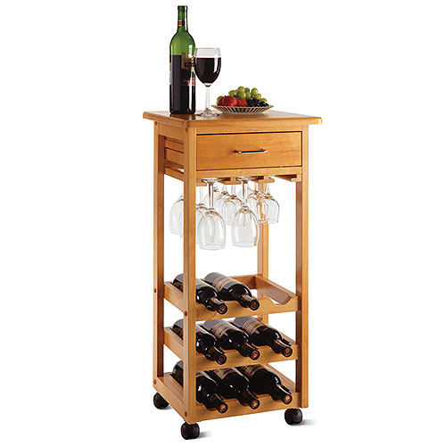 9-Bottle Wine Cart with Glass Rack