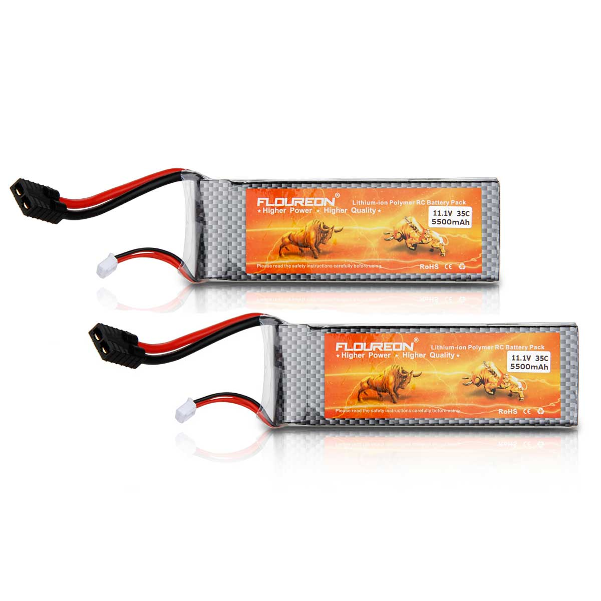 2X Floureon 11.1V 5500mAh 35C 3S1P Traxxas RC Li-ion Polymer Battery for Quadcopter Airplane Helicopter Car... by Floureon