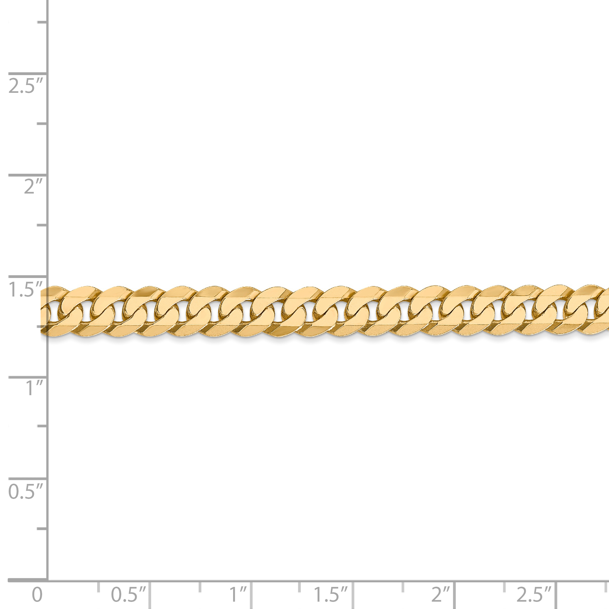 14k Yellow Gold 6.25mm Beveled Link Curb Chain Anklet Ankle Beach Bracelet 7 Inch : Fine Jewelry Gifts For Women For Her - image 1 de 4
