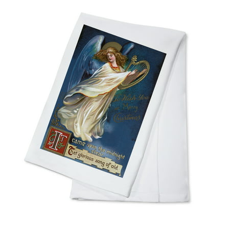 To Wish You a Happy Christmas from Forest Grove, Oregon - Angel with a Harp (100% Cotton Kitchen Towel)