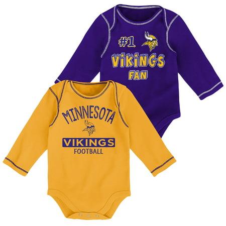 Newborn & Infant Purple/Gold Minnesota Vikings 2-Pack Long Sleeve Bodysuits