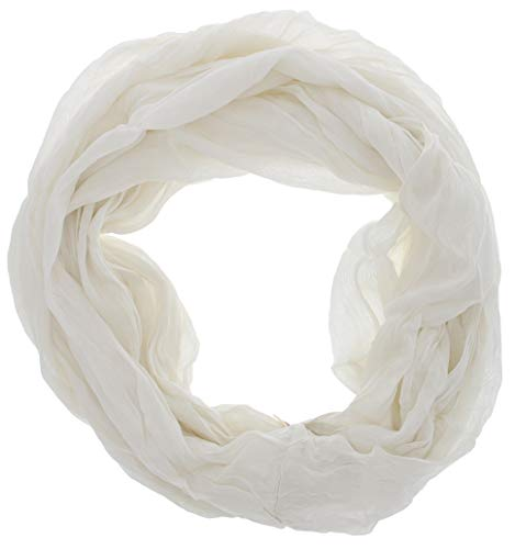 Look Women's White Infinity Scarf, Crinkle Silk, Cotton Blend
