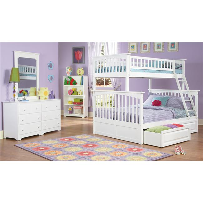 Columbia Bunkbed with Raised Panel Under Bed Storage Drawers - White, Twin Over Full Size