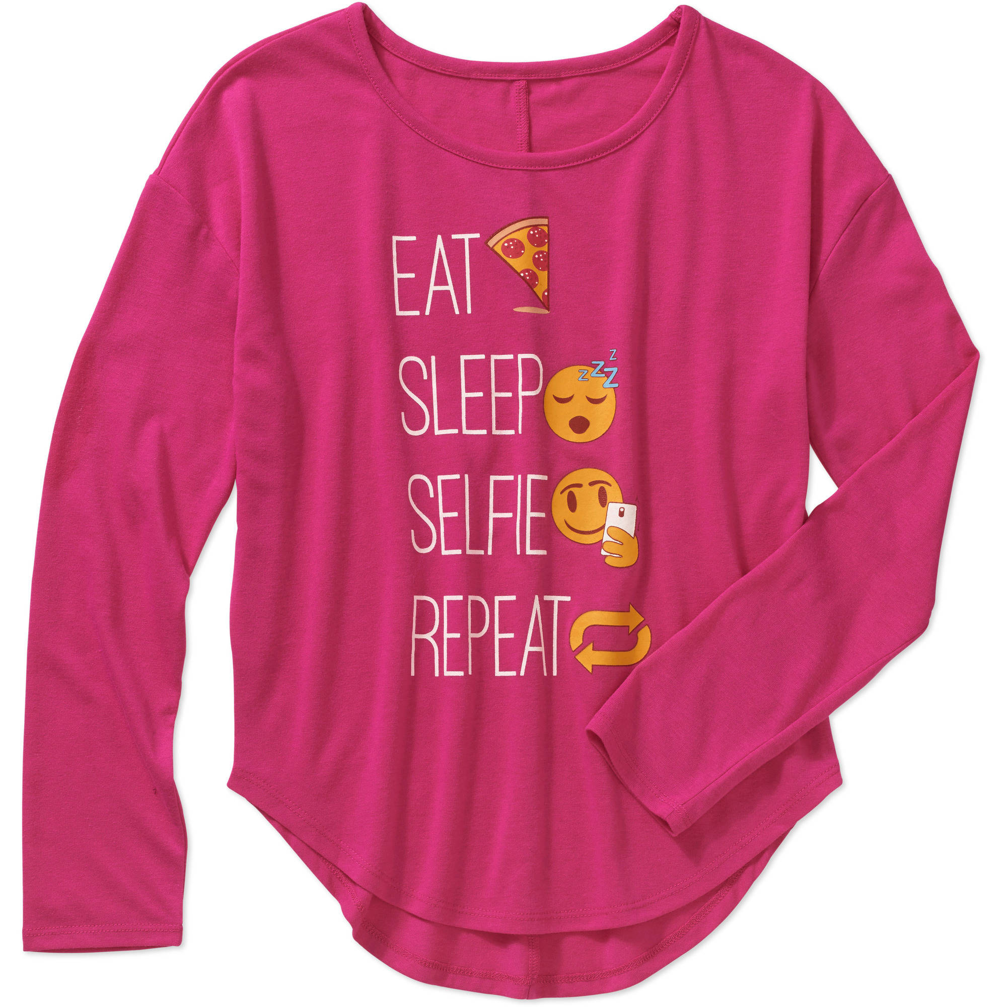 Gems And Jets Girls' Long Sleeve Crew Neck Eat, Sleep, Selfie, Repeat Graphic Tee