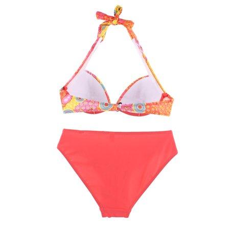 bf62693b3363 Women Sea Swimwear Neck Halter Bra Flower Print Swimsuit Bikini Set ...