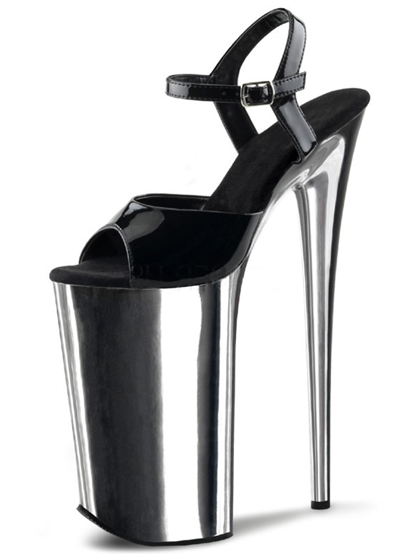 Glossy Black Patent and Reflective Silver High Heels with 10 Inch Stilettos