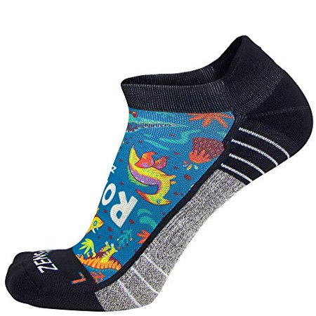 Zensah Limited Edition No-Show Running Socks - Anti-Blister Comfortable Moisture Wicking Sport Socks for Men and Women (Small Dinosaurs-Teal) - image 1 of 1