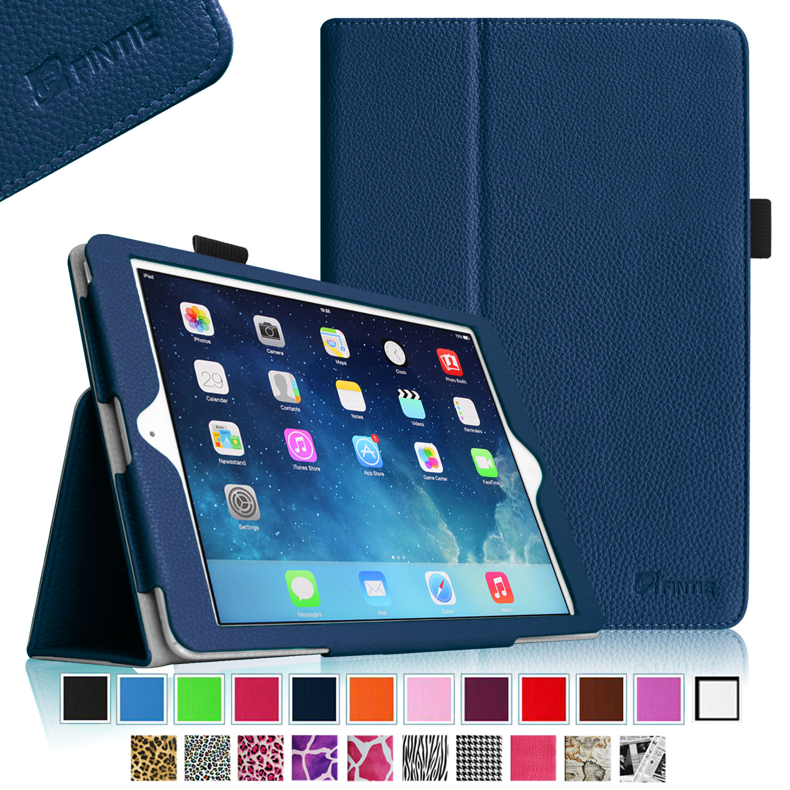 Fintie iPad Air (2013) Case - Premium PU Leather Folio Cover with Auto Sleep / Wake Feature, Navy