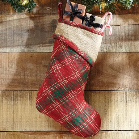 (Apple Red Rustic Christmas Decor Whitton Fabric Loop Cotton Cotton Burlap Plaid 15x11 Stocking)
