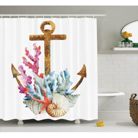 Anchor Decor Shower Curtain Set Anchor With Corals Seaweed Nature