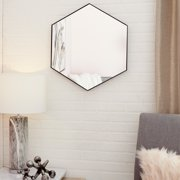 """CosmoLiving Contemporary Style Hexagon Wall Mirror with Black Frame 