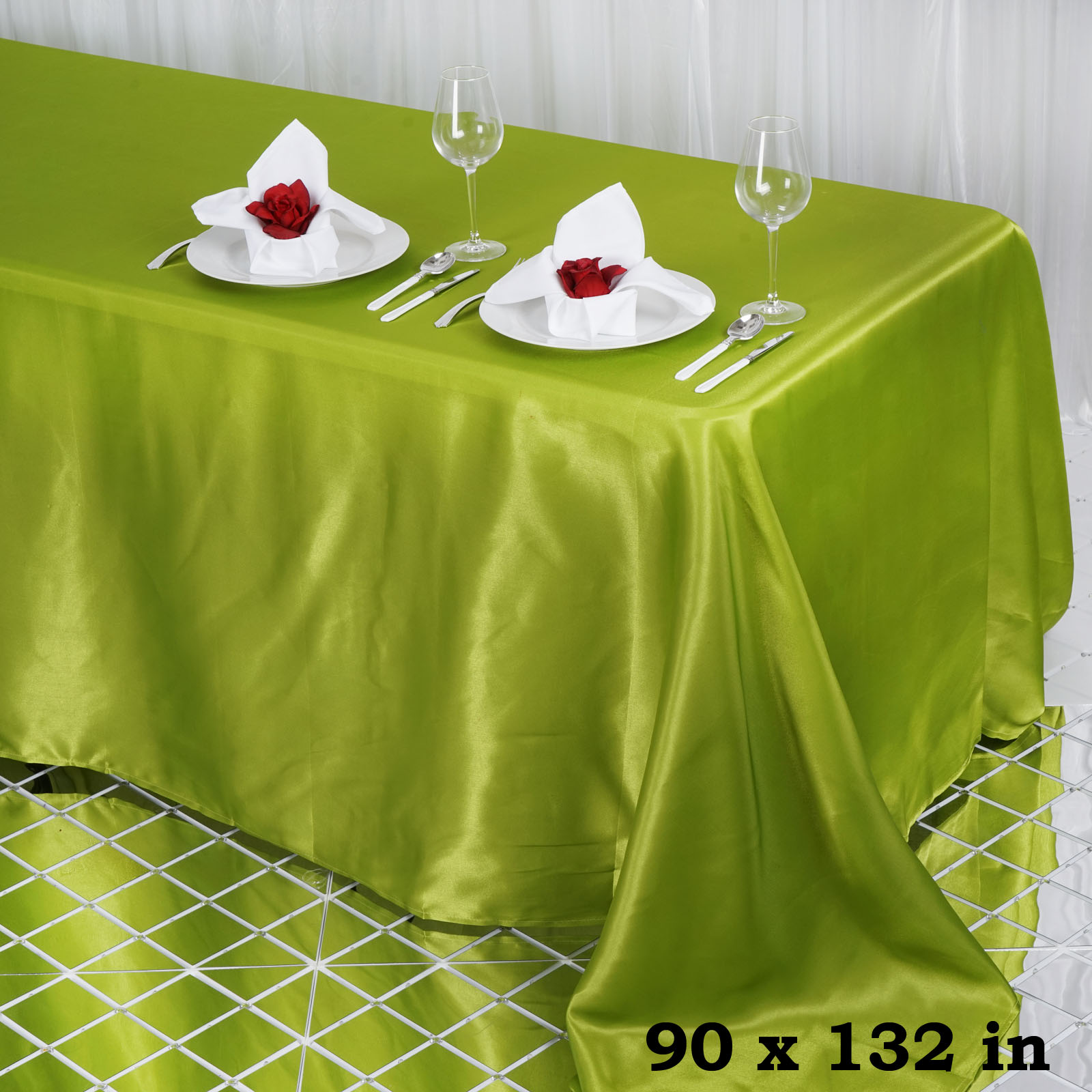 "Efavormart 90x132"" Rectangle Satin Tablecloth for Kitchen Dining Catering Wedding Birthday Party Decorations Events"